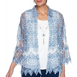 Alfred Dunner Petite Medallion Lace 2-For-1 Collared Top