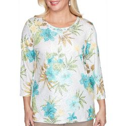 Alfred Dunner Petite Tropical Animal Print Top