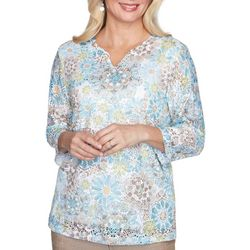 Alfred Dunner Petite Floral Palo Alto Lace Top