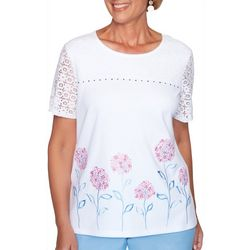 Alfred Dunner Petite Garden Party Floral Border Print Top