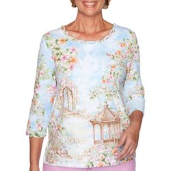 Alfred Dunner Petite Garden Party Scenic Top