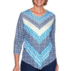Alfred Dunner Petite Vacation Mode Geometric Chevron Top