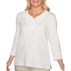 Alfred Dunner Petite Cottage Charm Stripe Embroidered Top