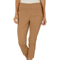 Alia Petite Solid Tech Stretch Embellished Crop Pants
