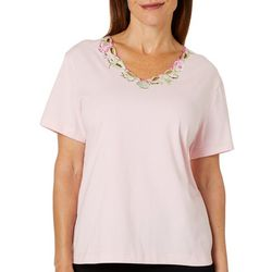 Once Again Petite Solid Sea Shell Embroidered Neck Top