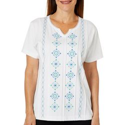 Once Again Petite Solid Embroidered Front Top
