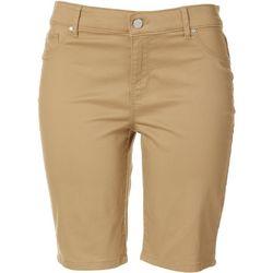 Gloria Vanderbilt Petite Sadie Solid Twill Bermuda Shorts