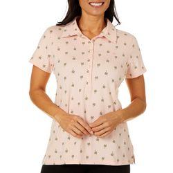 Gloria Vanderbilt Petite Annie Flamingo Print Polo Shirt
