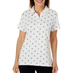 Gloria Vanderbilt Petite Annie Palm Leaf Print Polo Shirt