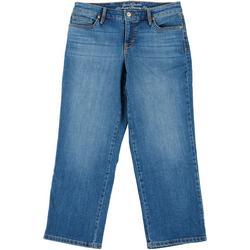 Petite Modern Straight Leg Faded Jeans