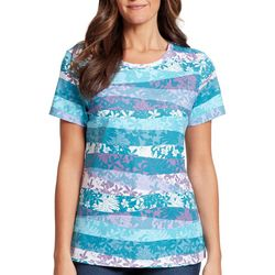 Gloria Vanderbilt Petite Margaret Tropical Stripe Top