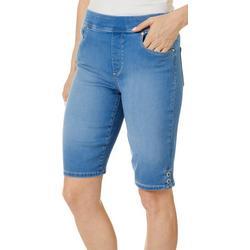 Petite Avery Pull On Denim Bermuda Shorts