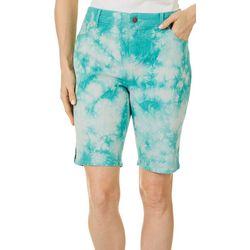 Petite  Midrise Tie Dye Bermuda Shorts