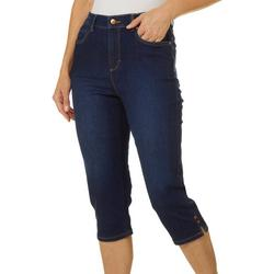 Petite Amanda Side Split Hem Denim Capris