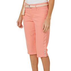 Gloria Vanderbilt Petite Mia Belted Skimmer Shorts