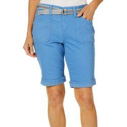 Gloria Vanderbilt Petite Mia Belted Bermuda Shorts