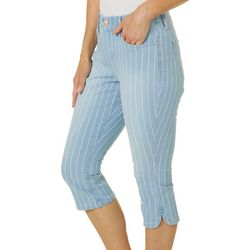 Gloria Vanderbilt Petite Comfort Curvy Striped Denim Capris