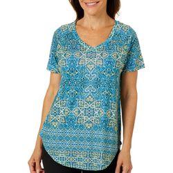 Gloria Vanderbilt Petite Millie Tile Print Embellished Top
