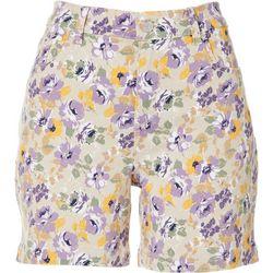 Petite Amanda Floral Print Denim Shorts