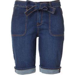 Petite Self Belted Denim Bermuda Shorts