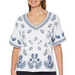 Rafaella Petite Paisley Puff Print Short Sleeve Top