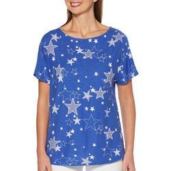 Petite Star Print Round Neck Short Sleeve Top
