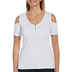 Rafaella Petite Solid Short Sleeve Open Shoulders