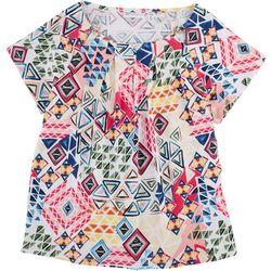 Rafaella Abstract Printed Short Sleeve Top