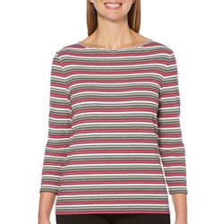 Rafaella Petite Striped Embellished Scalloped Neck Top