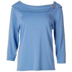 Rafaella Petite Embellished Mid Sleeve Top