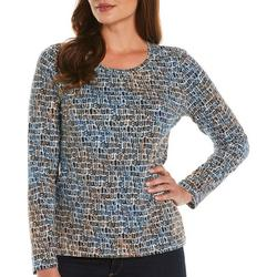 Petite Abstract Rectangle Print Long Sleeve Top