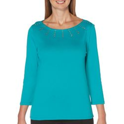 Petite Solid Embellished Boat Neck Top