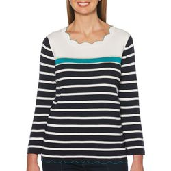 Rafaella Petite Striped Scalloped Edge Top