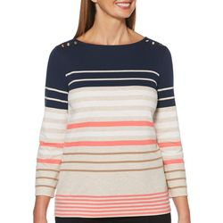 Rafaella Petite Stripe Button Embellished Boat Neck Top
