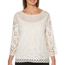 Rafaella Petite Solid Lace Boat Neck Top