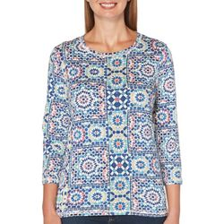 Rafaella Petite Tile Medallion Print Round Neck Top