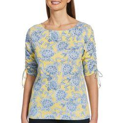 Petite Floral Paisley Print Tie Sleeve Top