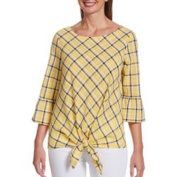 Petite Plaid Tie Front Bell Sleeve Top