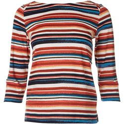 Rafaella Petite Striped Print Boat Neck Top