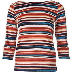Rafaella Petite Striped Print Boat Neck Top