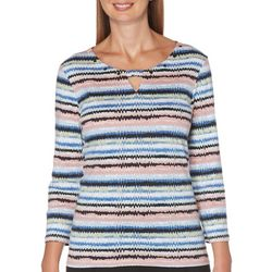 Rafaella Petite Twist Keyhole Striped Top