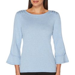 Rafaella Petite Solid Bell Sleeve Boat Neck Top