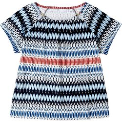 Rafaella Petite Red & Blue Round Neck Short Sleeve Top