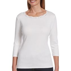 Petite Solid Eyelet Embellished Scalloped Neck Top