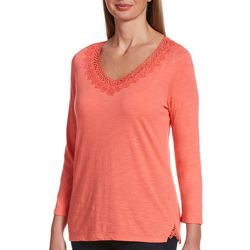 Rafaella Petite Solid Lace Trim V-Neck Top