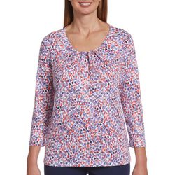 Rafaella Petite Dotted Pleated Neckline Top
