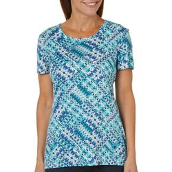 Bay Studio Petite Abstract Patchwork Print Top