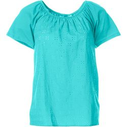 Fresh Petite Eyelet Raglan Sleeve Top