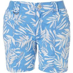 Petite Tropical Palm Leaf Cargo Shorts