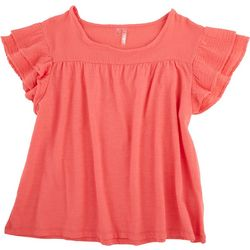 Silverwear Petite Solid Top With Ruffled Sleeve Detail